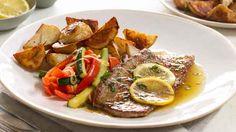 Curtis Stone's Lemon veal scallopini with zucchini & roast potatoes