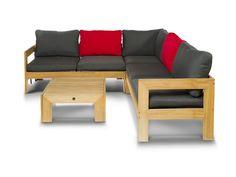 """""""Лавиньо"""",   857118 , тиковая лаунж зона состоящая из углового дивана и столика, натуральный тик,  цвет натуральный             Метки: Диваны садово парковые, угловые диваны для дачи.              Материал: Ткань, Дерево.              Бренд: 4SiS.              Стили: Скандинавский и минимализм.              Цвета: Коричневый, Красный, Серый."""
