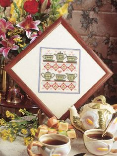 Cross-Stitch - Stitched Art - Tea for Two I