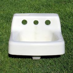 Vintage White Small Bathroom Sink by OldNotDead on Etsy, $95.00