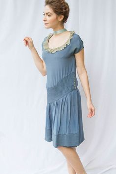 Asymetrical 1920s Slate Blue Silk Flapper with by LillianLorraine