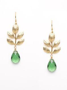 green quartz and gold earrings