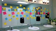 Operation Beautiful Post Its -- such an inspiring story of paying it forward! Leave post it notes with positive messages on public restroom mirrors for people to take! Beautiful Notes, You Are Beautiful, Fun To Be One, Something To Do, Ways To Be Happier, Pay It Forward, My Heart Hurts, Sticky Notes, Social Skills