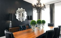 dining room chairs, black wallpaper and great mirror.