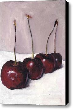 A Cherry Queue Stretched Canvas Print / Canvas Art By Hannah Henry
