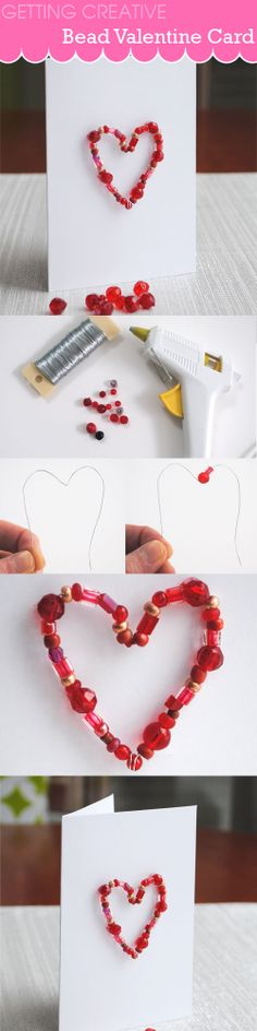 Super easy tutorial to make a bead Valentine card. Brought to you by Creative in Chicago  http://www.creativeinchicago.com/2014/02/bead-valentine-card-easy-tutorial.html