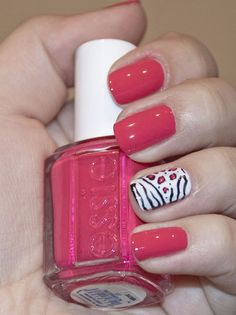 pink with white accent nail