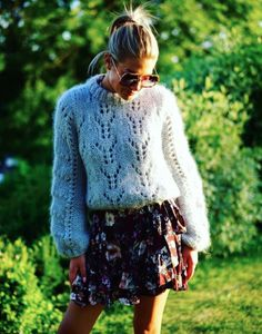 Ganni street style | Tone Damli Aaberge | Faucher Pullover Knitwear Fashion, Knit Fashion, Fashion 2017, Fashion Outfits, Mohair Sweater, Spring Street Style, Feminine Style, Day Dresses, Spring Outfits