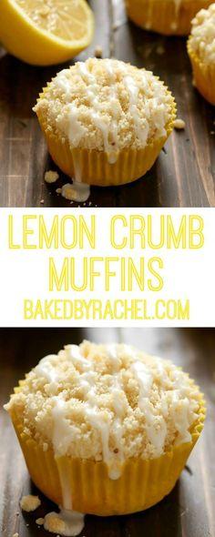 Moist and fluffy homemade lemon crumb muffins with a sweet lemon glaze. Recipe from /bakedbyrachel/