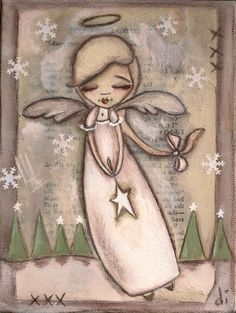 Print of my original folk art Christmas painting - A Star for Every Tree. $10.00, via Etsy.