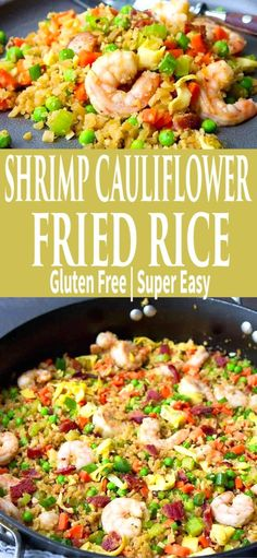 Ditch the takeout and serve up a batch of this low carb Shrimp Cauliflower Fried Rice! 225 calories and 2 Weight Watchers Freestyle SP Ww Recipes, Dinner Recipes, Healthy Recipes, Sweet Recipes, Dinner Ideas, Healthy Food, Shellfish Recipes, Shrimp Recipes, Shrimp Dishes