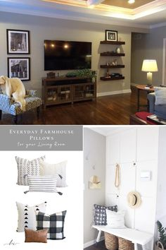 Everyday farmhouse pillow combos for your living room! // Everyday Modern Farmhouse Decor to upgrade any room in your home. Shop these pillow cover combos and more at Linen & Ivory.