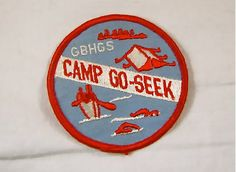 Vintage Girl Scout Camp Patch with Camping Swimming and Canoeing Graphics
