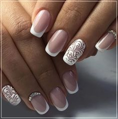 Refined and sophisticated manicure plays an important role in the external image of girls and women who observe themselves and wish to be the center of attention, captivating the admiration and pro… Nail Art Designs, Bridal Nails Designs, Elegant Nail Designs, French Manicure Designs, Elegant Nails, Nail Polish Designs, Beautiful Nail Designs, Wedding Manicure, Wedding Nails For Bride