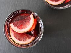 In this sangria, a red wine base gets a boost of cherry flavor from Cherry Heering liqueur.