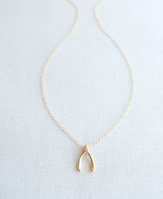 Lucky Gold Vertical Wishbone Necklace - simple gold, rose gold, or silver necklace with wishbone pendant - 1167