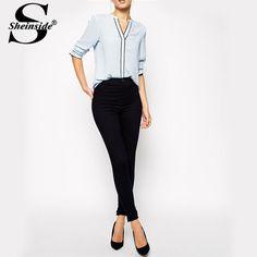 Sheinside Camisa Social Feminina Ethnic Roupa Female Shirt Slim Fit Women Fashion New Blue Long Sleeve V Neck Shift Blouse