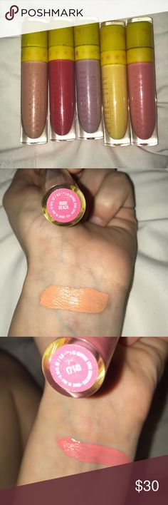 Jeffree star 2016 summer collection 5 vibrant and pigmented liquid mattes. Watermelon jolly rancher sent. Only swatch 2 times. Nude beach is a orangey nude. 714 is a baby Pink. Watermelon soda is a pinky red. Queen Bee is a vibrant yellow. Virginity is a pale lavender. All vegan. No animal testing. Eye safe jeffree star Other
