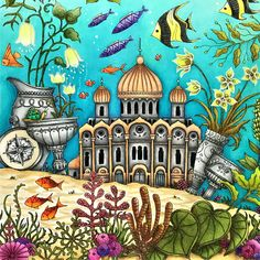 Take a peek at this great artwork on Johanna Basford's Colouring Gallery! Johanna Basford Books, Johanna Basford Coloring Book, Free Coloring Pages, Coloring Books, Adult Coloring, Faber Castell Polychromos, Most Famous Paintings, White Gel Pen, Color Pencil Art