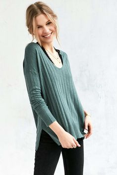 38dcc36cfd Kimchi Blue Ribbed Knit Deep V Tunic Sweater  urbanoutfitters Green Sweater