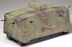 World War 1 German Army GW011 Cyclops A7 Tank - Made by Thomas Gunn Military Miniatures and Models. Factory made, hand assembled, painted and boxed in a padded decorative box. Excellent gift for the enthusiast.