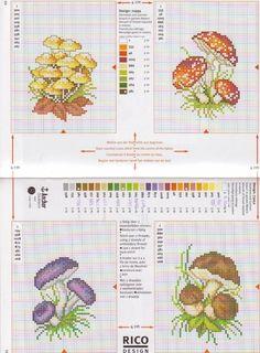 σχέδια με μανιτάρια σταυροβελονιά     κεντητά μπρελόκ μανιτάρια   cross stitch mushroom key chains     πηγή / source                 πηγ...