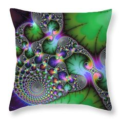 "Throw Pillow - Abstract fractal art green purple jewel colors square format 14"" x 14"" Multiple sizes available. (c) Matthias Hauser hauserfoto.com"