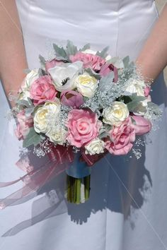 Vintage Pink & Ivory Real Touch Tulip and Rose Bridal Bouquet