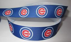 "GROSGRAIN CHICAGO CUBS BASEBALL 7/8"" INCH RIBBON *YOUR CHOICE OF 1, 3 or 5 YARDS #Unbranded"