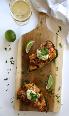 foodie fridays: chorizo and tater tot stuffed poblanos with chipotle cream