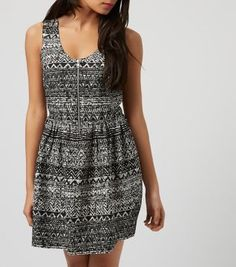 £19.99 New Look Black Zip Front Aztec Print Skater Dress