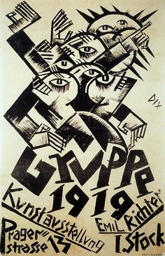 Poster by Otto Dix for the expressionist Gruppe 1919 show