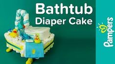 A bathtub diaper cake is a fun and creative DIY diaper cake idea! Our diaper cake tutorial and DIY diaper cake instructions show you how to make a bathtub di. Baby Shower Items, Unique Baby Shower, Baby Shower Diapers, Baby Shower Cakes, Baby Shower Parties, Baby Shower Gifts, Shower Party, Diaper Cakes Tutorial, Diaper Cake Instructions