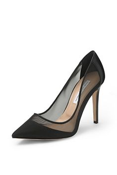 Bianca Mesh Pump In Black Leather/ Black Mesh | DVF