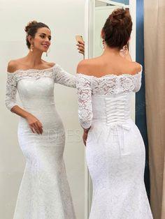Buy Stunning Off-The-Shoulder 3/4-Length Sleeves Mermaid Wedding Dress  Online, Dresswe.Com offer high quality fashion,Price: USD$177.29