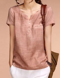 Cotton Linen Solid Others Short Sleeve Casual T-shirts & Vests Short Sleeve Linen Shirt, Linen Blouse, Linen Shirts, Linen Jackets, Short Tops, Mode Style, Blouse Designs, Shirt Blouses, Casual Outfits