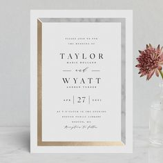 """""""Marble Marriage"""" - Foil-pressed Wedding Invitations in Marble by Carolyn MacLaren."""
