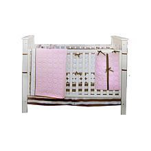 Bacati Quilted Circles Pink & Chocolate 4-Piece Crib Bedding Set