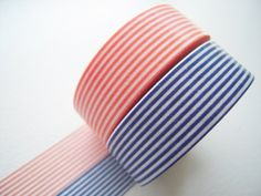 MT 2012 NEW- Japanese Washi Masking Tapes / Coral Pink and Navy Blue Stripes for packaging, party deco, card making. $8.00, via Etsy.