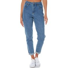 Wrangler Tyler Womens Mom Jean Blue (€93) ❤ liked on Polyvore featuring jeans, blue, women, highwaist jeans, zipper jeans, relaxed fit jeans, high waisted jeans and high-waisted jeans