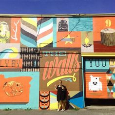 #tbt to only a few months back our first week in Portland gathering material for our new USA site. @yvejohnson infront of a massive @blainefontana mural for #ffttnw. Nice! by thedesignkids