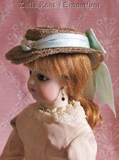FRENCH FASHION DOLL~Lovely Hat~Bonnet~PALE BLUE TRIMS~Zofia Rose's Emporium