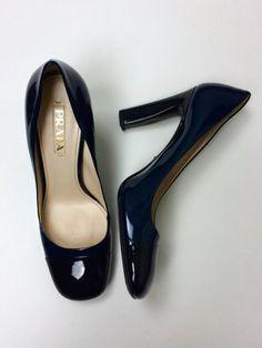 $550 Prada 41 10 Navy Blue Black Patent Leather Two Tone Pumps Heels #PRADA #PumpsClassics
