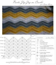 Beautiful Picture of Crochet Zig Zag Pattern Punto Zig Zag Crochet, Zig Zag Crochet Pattern, Stitch Crochet, Chevron Crochet, Mode Crochet, Crochet Diagram, Crochet Stitches Patterns, Crochet Motif, Crochet Baby