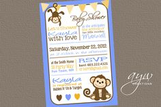 Baby Shower Invitation Monkey Printable  by AsYouWishCreations4u, $14.00
