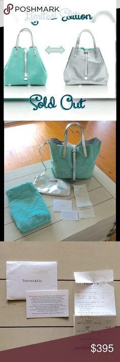 """LTD ED Tiffany & Co Reversible Suede SM Tote Purse SOLD OUT ONLINE.  LIMITED EDITION. Never used it, just kept it in the dust bag all this time (I decided I wanted a shoulder bag!).  Included original receipts & dust bag. Reversible tote in Tiffany blue suede and silver metallic leather w/ 24k gold-plated solid brass hardware (wrapped still in original plastic). Detachable zipper pouch.  Leather tab closure. Double strap, 5"""" drop. Size small. 9.5""""W x 4.75""""D x 9.5""""H. Made in Italy.   Bought…"""