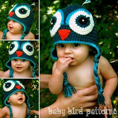 Crochet owl hat pattern for babies and by babybirdpatterns on Etsy, $3.99