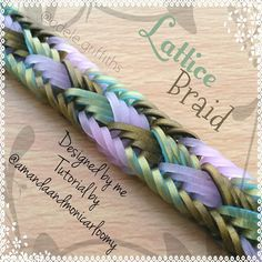 """..... Lattice Braid Bracelet  Designed by me  Tutorial by @amandaandmonicarloomy  Hook only design  Made with Persian Black, Persian Ocean, and Glow…"""