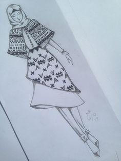 Hijab fashion sketch with batik motifs inspired by aztec tribal motifs Dress Design Drawing, Dress Design Sketches, Fashion Design Sketchbook, Fashion Design Drawings, Fashion Sketches, Fashion Figure Drawing, Fashion Drawing Dresses, Fashion Illustration Dresses, Croquis Fashion
