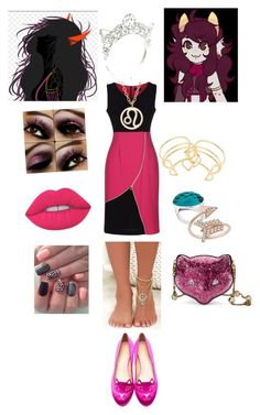 """""""fuschia!disciple"""" by odscene on Polyvore featuring Elizabeth and James, Kris Nations, Eternally Haute, LULUS, Charlotte Olympia, Gucci, Lime Crime, homestuck, bloodswap and fictionkin"""